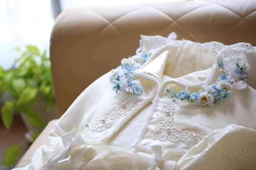 「エピローグドレス 百合」+「装花 ラリエットブルー」